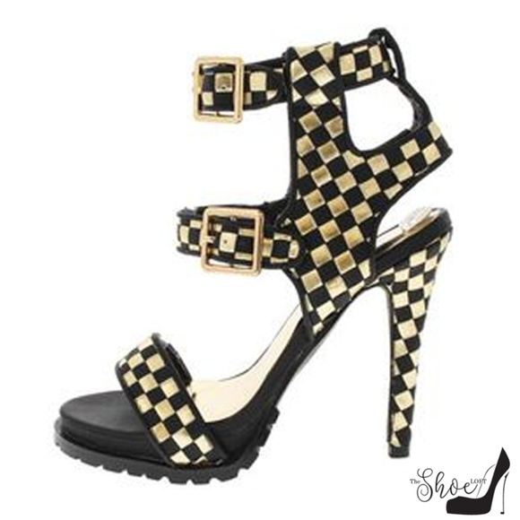 The Shoe Loft Shoes - Maxine Gold & Black Checked Lug Soles